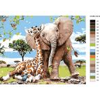 CZ 37215 Painting by numbers kit - Giraffe with a baby elephant