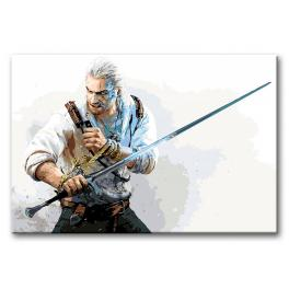 Painting by numbers kit - Witcher with a sword
