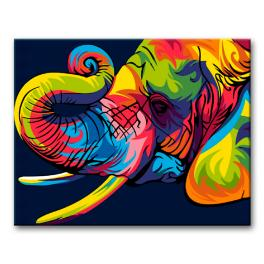 Painting by numbers kit - Colourful elephant