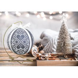 Cross stitch kit - Christmas ball with white arabesque