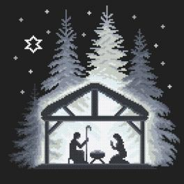 ZN 10645 Cross stitch kit with tapestry - Night in the stable