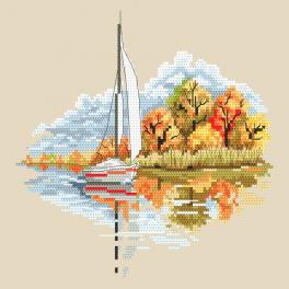 ZN 10296 Cross stitch kit with tapestry - Seasons - Golden autumn