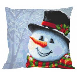 ZU 10643-01 Cross stitch kit - Pillow - Snowman painted with a needle