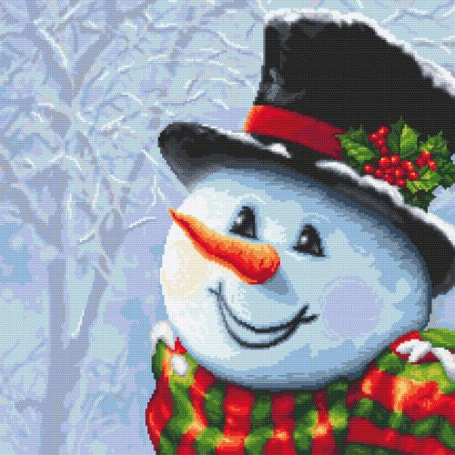 W 10643 ONLINE pattern pdf - Snowman painted with a needle