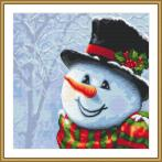K 10643 Tapestry canvas - Snowman painted with a needle