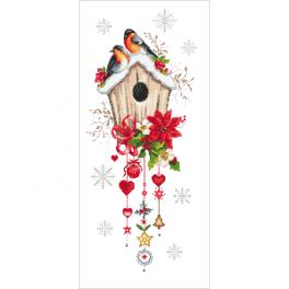 ZN 10444 Cross stitch kit with tapestry - Christmas bird house