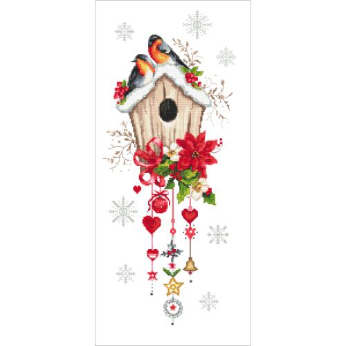 ZI 10444 Cross stitch kit with mouline and beads - Christmas bird house