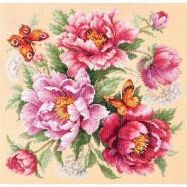 MN 140-001 Cross stitch kit - Flower magic - peonies
