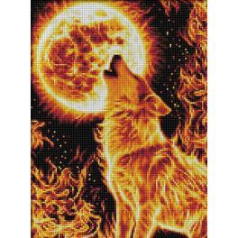 M AZ-1855 Diamond painting kit - Fire wolf