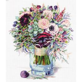 PAC 7159 Cross stitch kit - Bouquet with anemones