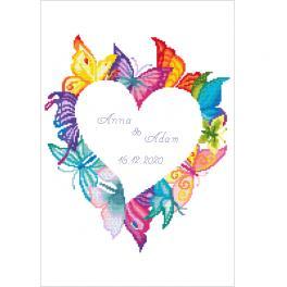 GC 10650 Cross stitch pattern - Heart in buterflies