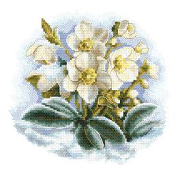ZI 10306 Cross stitch kit with mouline and beads - Winter flower