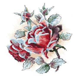 ZI 10305 Cross stitch kit with mouline and beads - Frosted roses