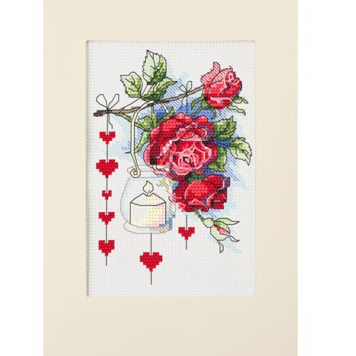 ZU 10303 Cross stitch kit - Valentine's Day card with a lantern