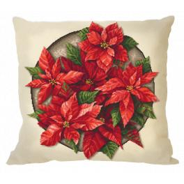 ZU 10648-01 Cross stitch kit - Pillow - Poinsettia