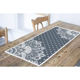 ZU 10623-04 Cross stitch kit - Table runner with a rosette