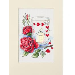 ZU 10302 Cross stitch kit - Valentine's Day card with a candle