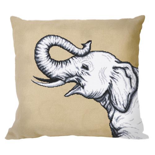 W 10655-01 ONLINE pattern pdf - Pillow - Black and white elephant