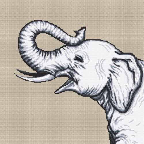 W 10655 ONLINE pattern pdf - Black and white elephant