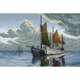 K 4027 Tapestry canvas - Boats on the sea
