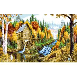 K 7310 Tapestry canvas - Landscape with a windmill