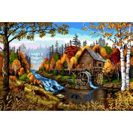 K 7308 Tapestry canvas - Landscape with a windmill