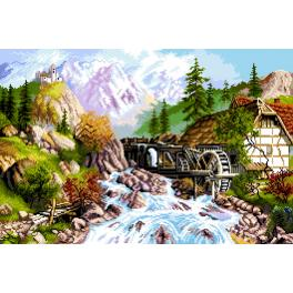 K 7304 Tapestry canvas - Mountain landscape - mill with a river