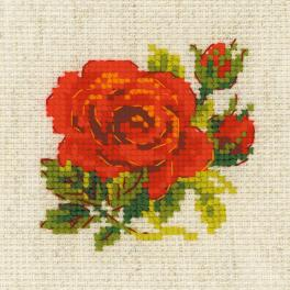RIO 1843 Cross stitch kit with yarn - Red rose
