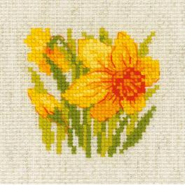 RIO 1841 Cross stitch kit with yarn - Yellow narcisus