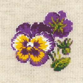RIO 1857 Cross stitch kit with yarn - Pair of pansies