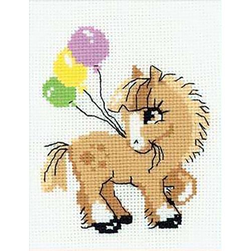 RIO HB093 Cross stitch kit with yarn - Pony
