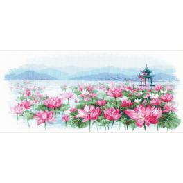 RIO 1869 Cross stitch kit - Lotus field. Pagoda no the water