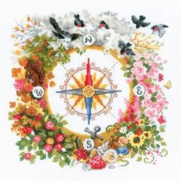 RIO 1881 Cross stitch kit with yarn - Compass