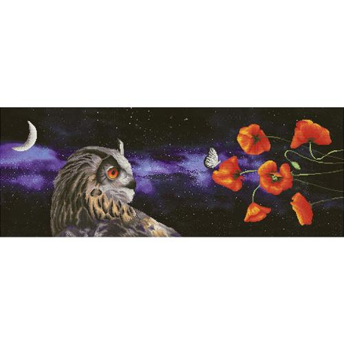 NCP 1501 Cross stitch kit with printed background - Butterfly sleep