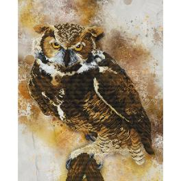 NCP 2238 Cross stitch kit with printed background - Owl