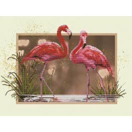 NCB 4507 Cross stitch kit with printed background - Flamingos
