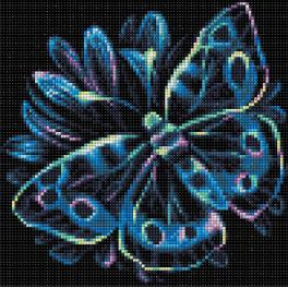 M AZ-1713 Diamond painting kit - Neon butterfly