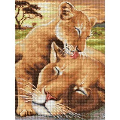 M AZ-1740 Diamond painting kit - Baby lion with mother