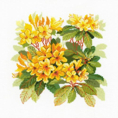 RIO 1922 Cross stitch kit with yarn - Rhododendron