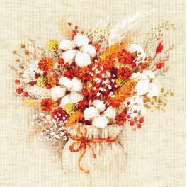 RIO 1913 Cross stitch kit with yarn - Bouquet with lagurus and cotton