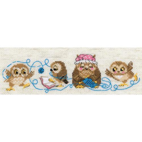 RIO 1936 Cross stitch kit with yarn - The owl family