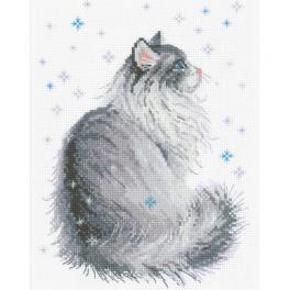 RIO 1912 Cross stitch kit with yarn - Snowy meow
