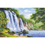 RIO 1908 Cross stitch kit with yarn - Noise of waterfall