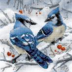 RIO 1925 Cross stitch kit with yarn - Blue jays