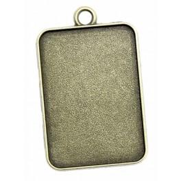 Medallion base rectangle bronze 23x33mm