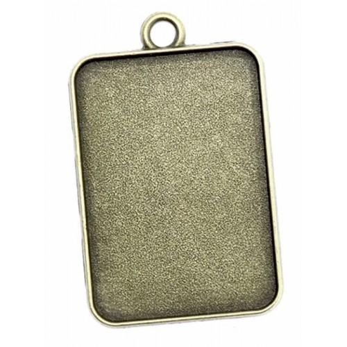 Medallion base rectangle bronze 23x33mm