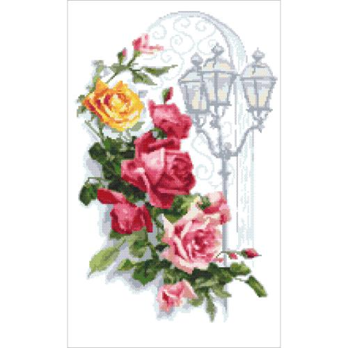 GC 10446 Cross stitch pattern - Colourful roses with a lantern