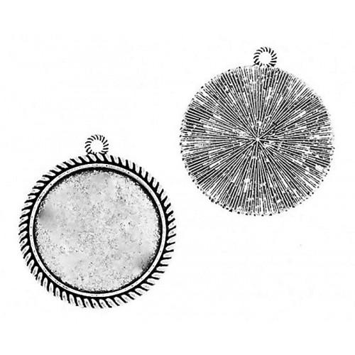 Medallion base round silver colour 30mm