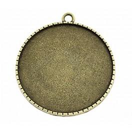 Medallion base round bronze 40mm flowers