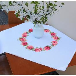 ZU 10449 Cross stitch kit - Tablecloth with roses